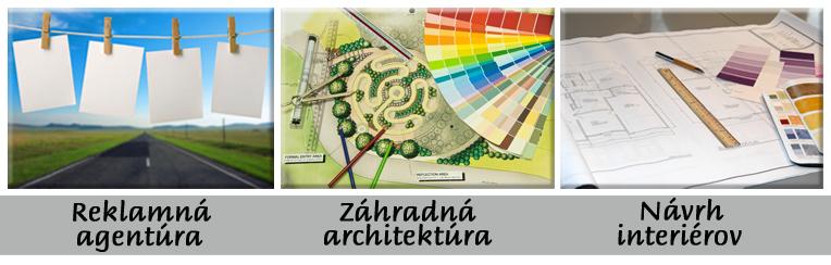 zahradna architektura, navrh interierov, reklamna agentúra